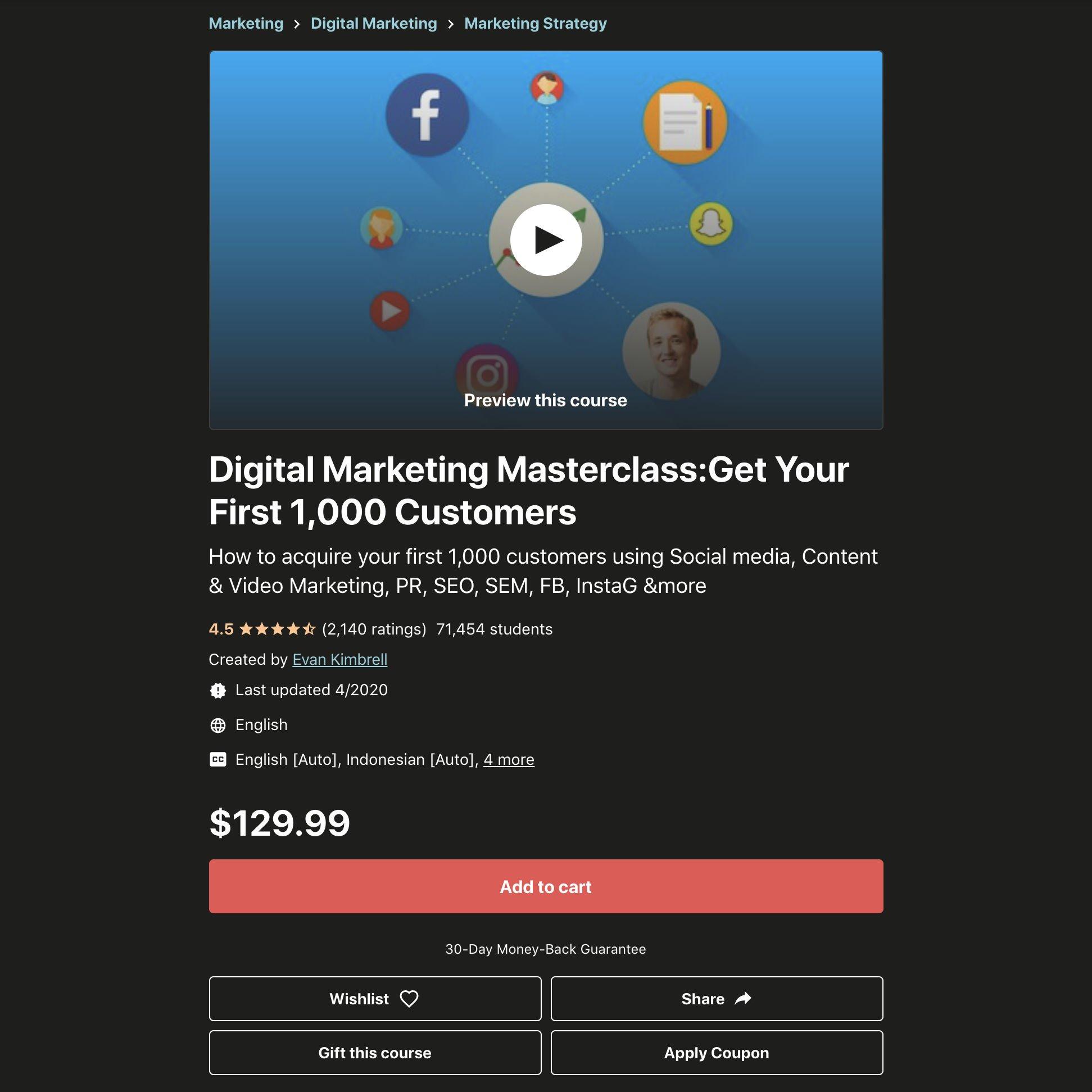 Digital Marketing Masterclass screenshot.