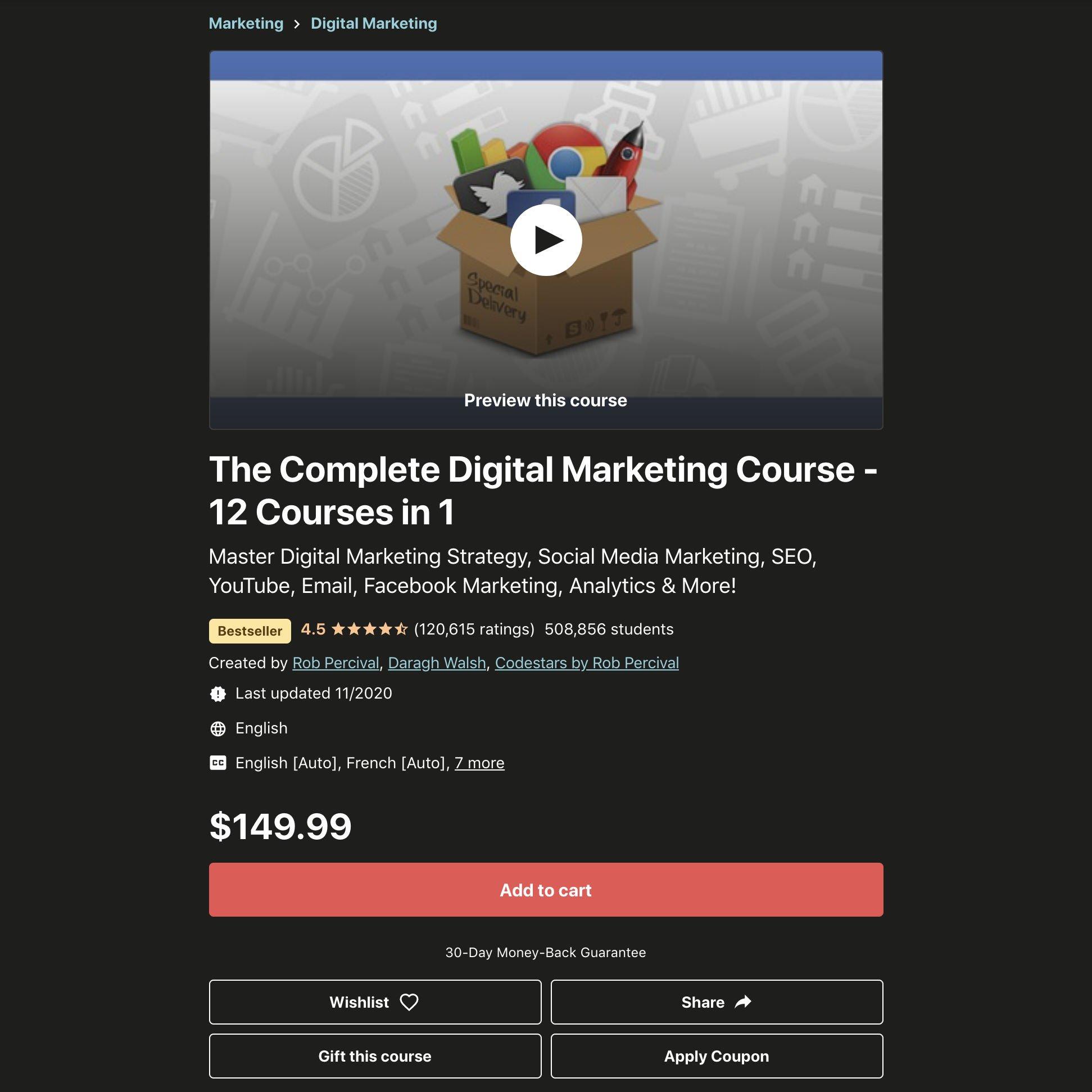 The Complete Digital Marketing Course screenshot.