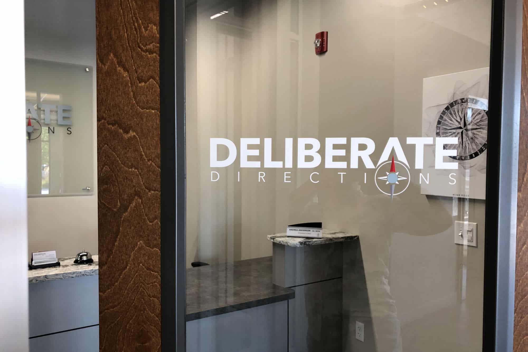 The front door of Deliberate Directions's office suite