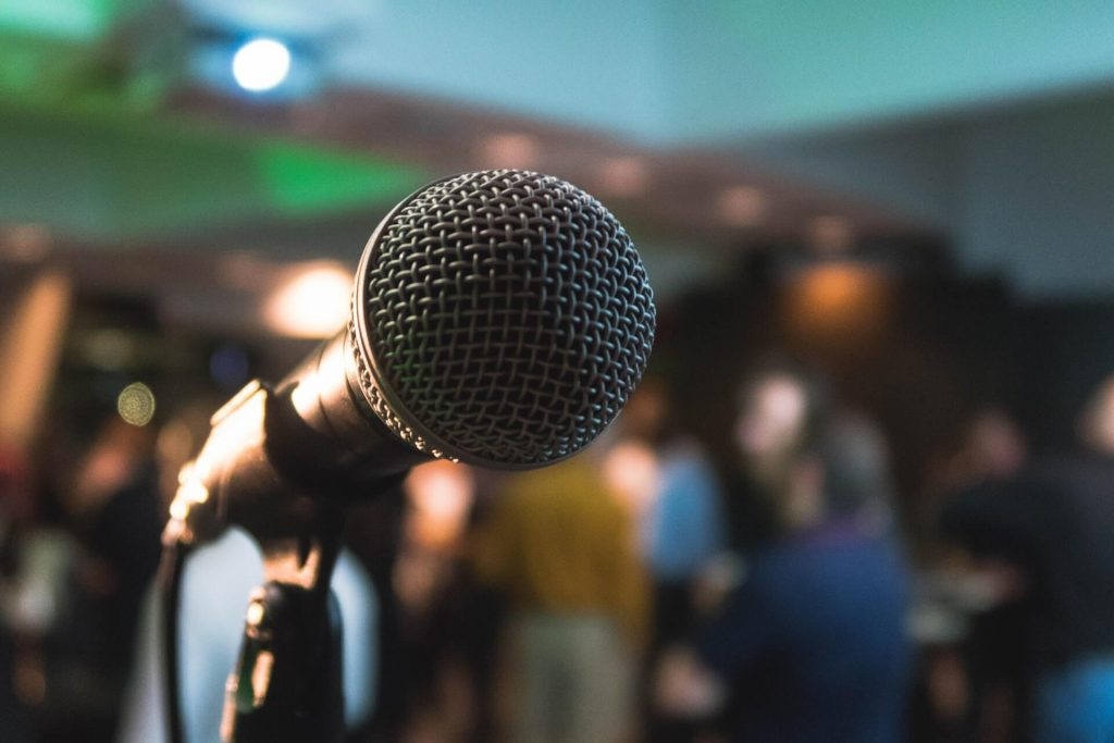 Image of a microphone for public speaking.