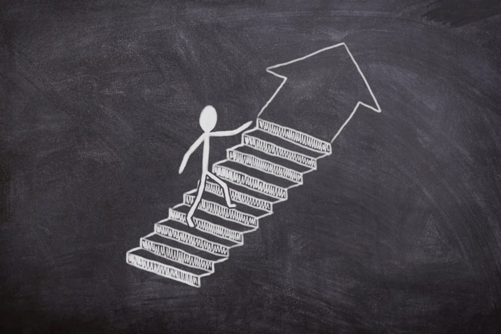 Doodle of a stick figure climbing stairs to develop a SOP.