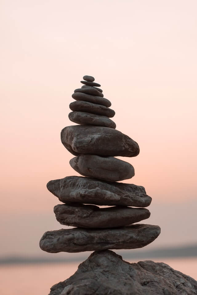 A rock stack to focus on a specific mindset.