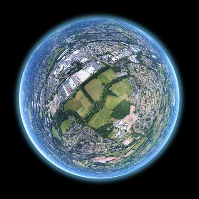 Arial view of the world.
